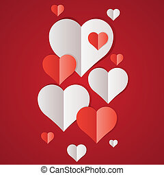 Red and white paper hearts Valentines day card