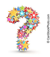 Question mark, from colored stars - Question mark from...