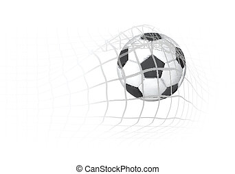 Soccer Ball in the goal net - Soccer ball in the goal net...