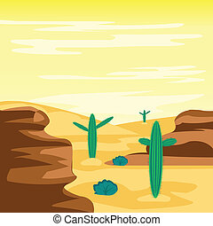 Desert and cactuses - Illustration arid desert and cactus