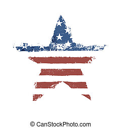 The American flag print as star shaped symbol. Vector,...