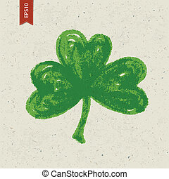 Clover sign on paper texture. Vector, EPS10