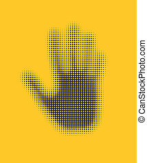 Hand icon on yellow background Vector, EPS8