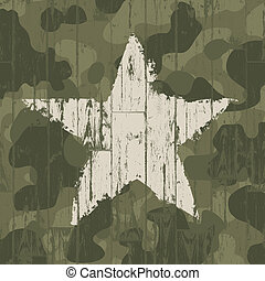 Military camouflage background with star Vector, EPS10