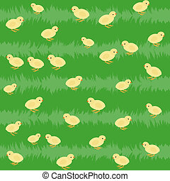Seamless pattern with chickens on the grass - Little yellow...