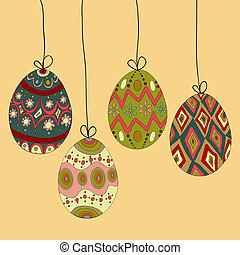Hanging easter eggs - Happy Easter hanging eggs greeting...