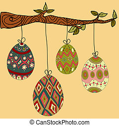 Tree hanging easter eggs - Happy Easter hanging eggs from...