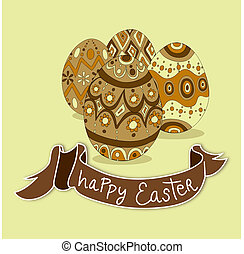 Happy Easter eggs greeting card background Vector file...