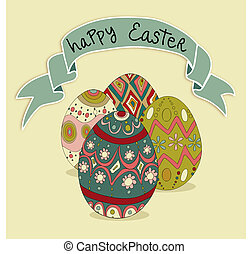Happy Easter eggs greeting card background. Vector file...