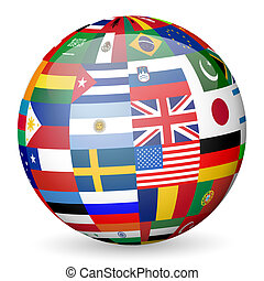 national flags globe - National flags sphere on white...