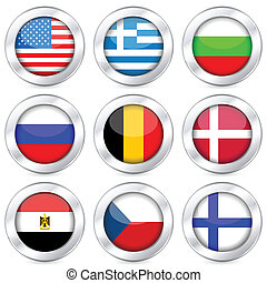 national flag button set - National flag button set on a...