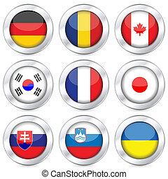 national flag button set 3 - National flag button set on a...