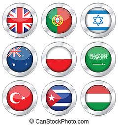 national flag button set 4 - National flag button set on a...