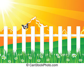 Orange landscape wooden fence - Beautiful rural landscape...