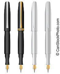 pens set - Four pens isolated on a white background. Vector...