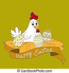 Happy Easter hen with eggs greeting card background. Vector...