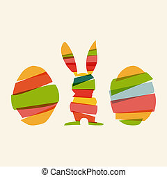 Diversity Easter bunny and eggs