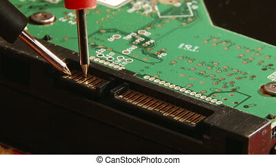 Electronics, Signal testing, close up