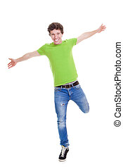 confident teen arms outstretched - Happy smiling confident...