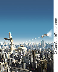 Future City - Falling Tower - Collasping tower in a science...