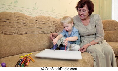 Granny and grandson at home
