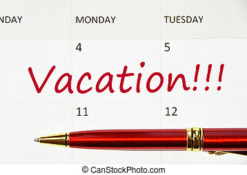 Vacation note in the calendar
