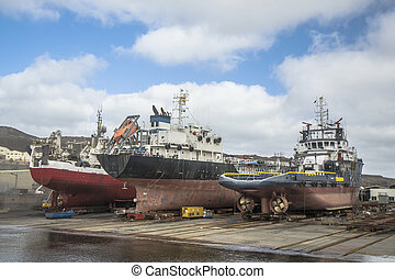 Shipyards - Vessels under repair in a shipyard