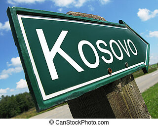 Kosovo road sign