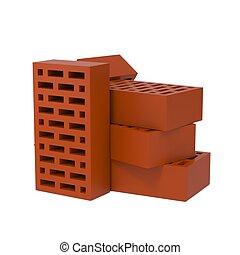 Stack of Red Bricks.