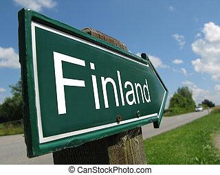 Finland signpost along a rural road