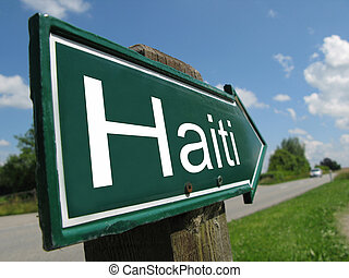 Haiti signpost along a rural road
