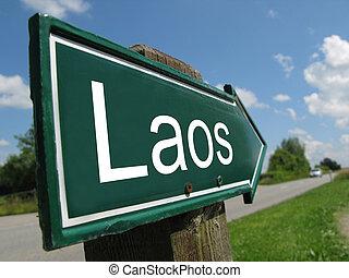 Laos signpost along a rural road