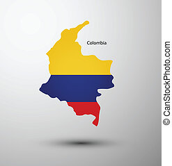 Colombia flag on map of country