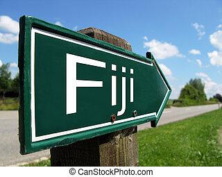 Fiji signpost along a rural road