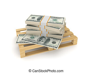 Packs of dollars on a palletIsolated on white background3d...