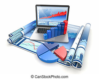 Business analyze Laptop, graph and diagram 3d
