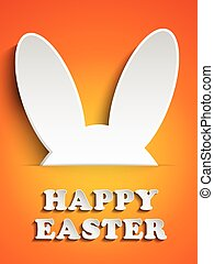 Happy Easter Rabbit Bunny on Orange Background - Vector -...