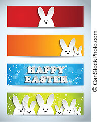 Happy Easter Rabbit Bunny Set of Banners - Vector - Happy...