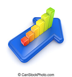 Colorful graph on a blue arrowIsolated on white background3d...