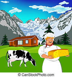 Funny Chef and dairy cheese - Funny Chef and Natural swiss...