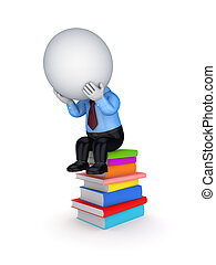 3d small person sitting on a stack of colorful books.
