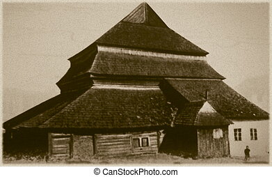 Retro photo of old wooden synagogue in Gwozdiec, Western...