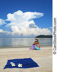 Young woman on a beach of Langkawi island, Malaysia