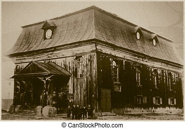 Retro photo of old wooden synagogue in Kornik, Poland, built...