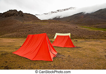 Mountain camping - Swiss tents at a campsite near Chandertal...