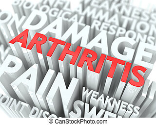 Arthritis Concept The Word of Red Color Located over Text of...