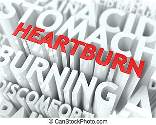 Heartburn Concept. The Word of Red Color Located over Text...