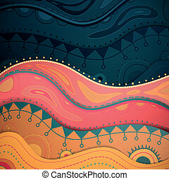 Ornamental Vector Water Background - Vector Illustration of...