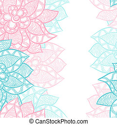 Floral border with abstract hand drawn flowers.