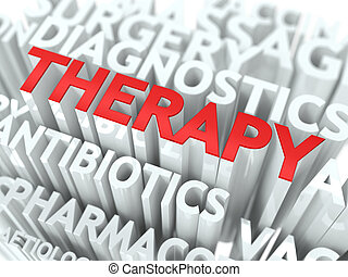 Therapy Concept. The Word of Red Color Located over Text of...